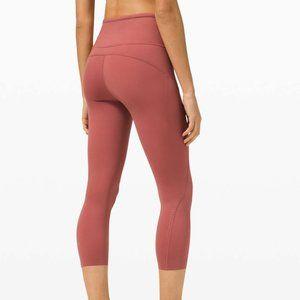 Lululemon Cherry Tint Fast and Free High Rise Elite Reflective Crop Leggings